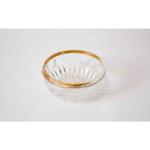 Art Deco Carved Glass Bowl With Gold Accent For Sale - Image 4 of 4