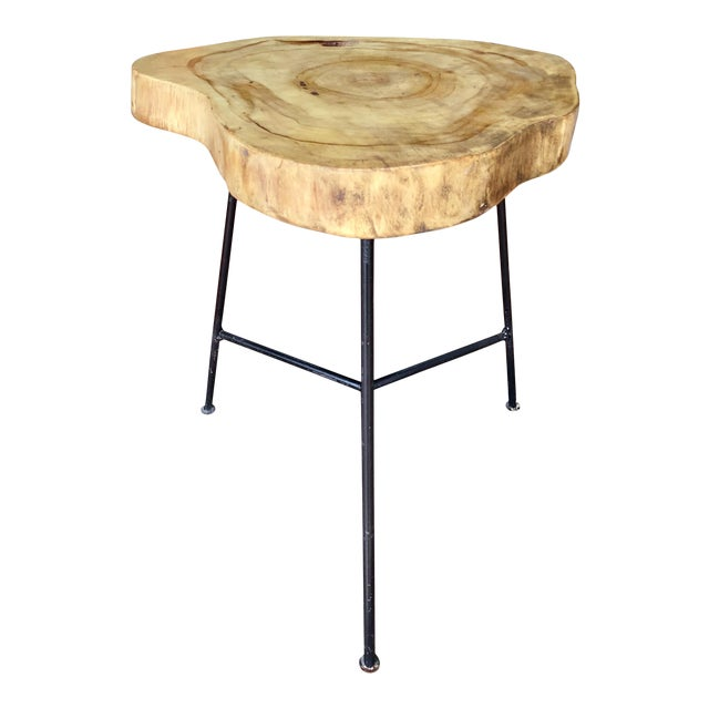 Rustic Live Edge Pine Slab End Table For Sale