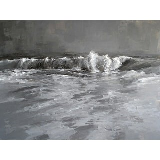 "Beckham Oil Painting ""Black and White"", Contemporary Large Gray Seascape For Sale"