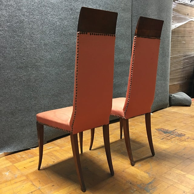 Antique Orange High Back Chairs - A Pair - Image 3 of 7