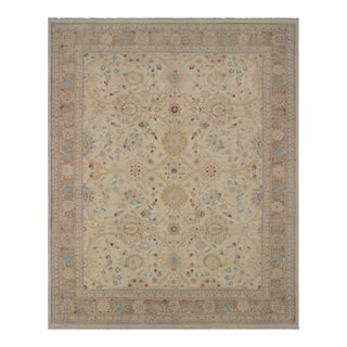"Kafkaz Peshawar Breanne Ivory/Brown Wool Rug - 9'2"" X 11'8"" For Sale"
