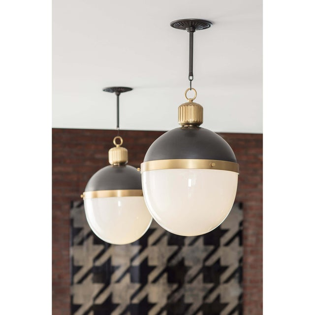 Traditional Otis Pendant Large in Blackened and Natural Brass For Sale - Image 3 of 8