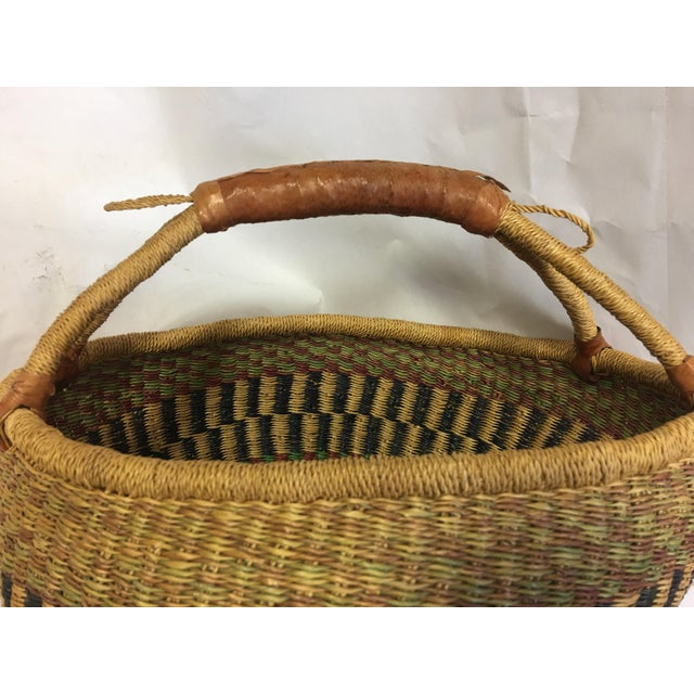 Oval Hand Woven Natural Grass Basket - Image 6 of 8