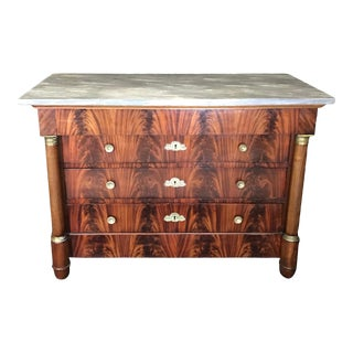 French Flame Mahogany Empire Commode Dresser With Marble Top For Sale