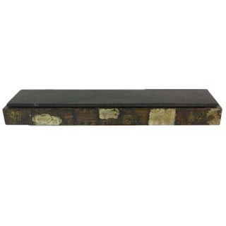 Amazing Floating Paul Evans for Directional Metal Patchwork Console With Slate Wall Shelf For Sale