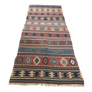 Turkish Anatolian Handmade Blue Kilim Rug-3'9x9'8 For Sale