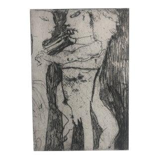 Modern Figurative Etching by Dellas Henke, C. 1979 For Sale