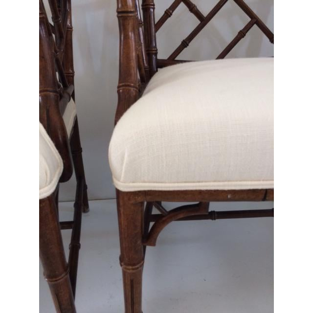 1980s Vintage Faux Bamboo Arm Chairs- A Pair For Sale - Image 10 of 13