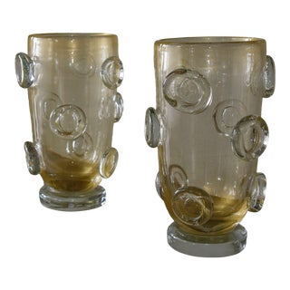 1980s Gold Leaf Flecked Murano Glass Vases - a Pair For Sale