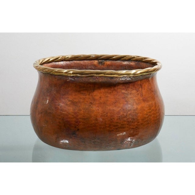 Italian Large Oval Hammered Copper Jardiniere For Sale - Image 3 of 5