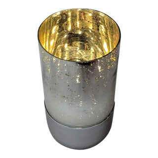 Mercury Glass Vase or Pillar Candle Holder For Sale