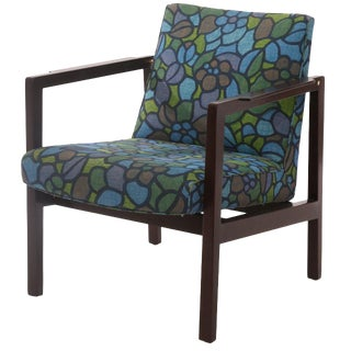 Edward Wormley Mahogany Brass and Upholstered Armchair For Sale