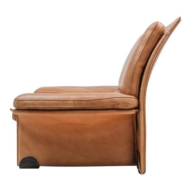 Thick Camel Leather Club Chairs by Titiana Ammanati & Giampiero Vitelli for Brunati - 1970s For Sale
