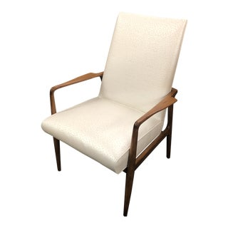Mid Century Modern Stow & Davis Faux Emu Pearl Naugahyde Arm Chair For Sale