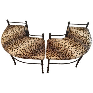 1940s Hollywood Regency Curved Animal Print Fireplace Benches - a Pair