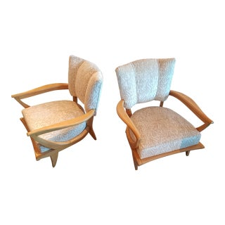 Art Deco Chairs by Designer Etienne Martin for Steiner. Newly Recovered in Weitzner Velvet, a Pair For Sale