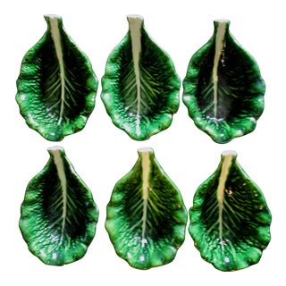 Last Call! Vintage Mid Century Majolica Cabbage Leaf Bowls - Set of 6 For Sale