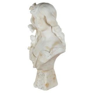 Italian Art Nouveau Alabaster Female Bust For Sale
