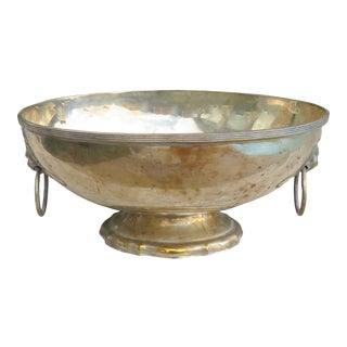 Vintage Silver Plated Oval Pedestal Bowl With Lion's Head Ring Handles For Sale