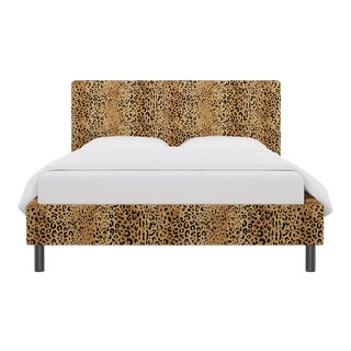 Queen Tailored Platform Bed in Leopard For Sale