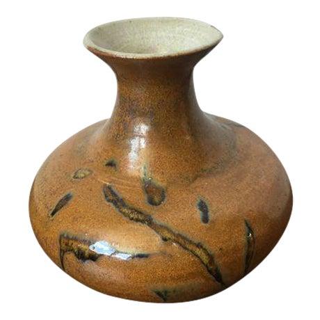 Tree Design Handmade Tan Clay Vase - Image 1 of 7