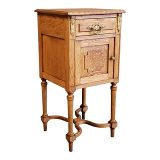 Antique French Neoclassical Oak Nightstand For Sale