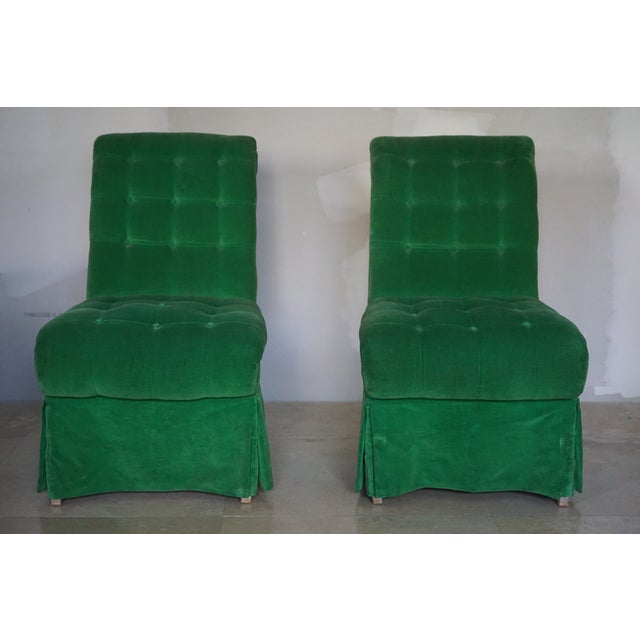 1970s 1970s Vintage Green Slipper Chairs - A Pair For Sale - Image 5 of 5