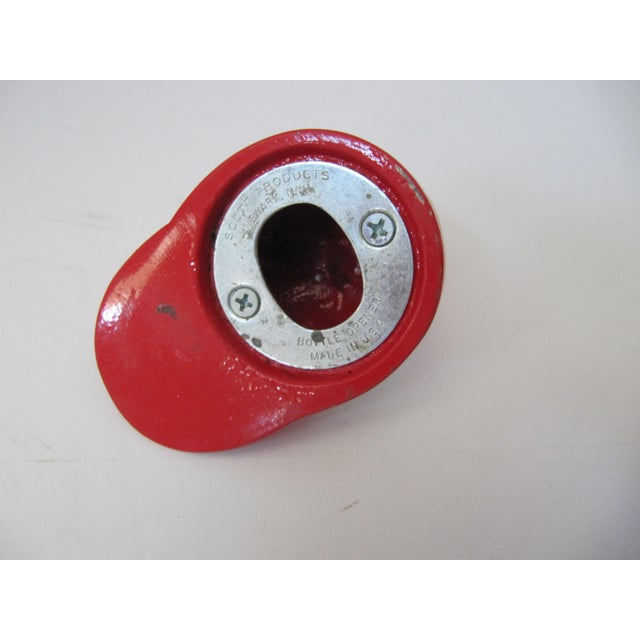 Traditional Vintage Red & White Jockey Cap Bottle Opener For Sale - Image 3 of 4