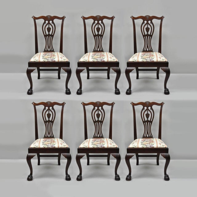 Early 20th Century Antique Mahogany Chippendale Style Dining Chairs - Set  of 6 For Sale - - Early 20th Century Antique Mahogany Chippendale Style Dining Chairs