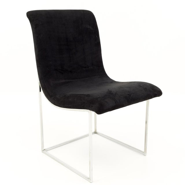 Mid 20th Century Milo Baughman for Directional Mid Century Black Velvet Chrome Base Lounge Chairs - a Pair For Sale - Image 5 of 11