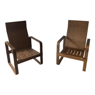 Alvar Aalto Style Bentwood Lounge Chairs- a Pair For Sale