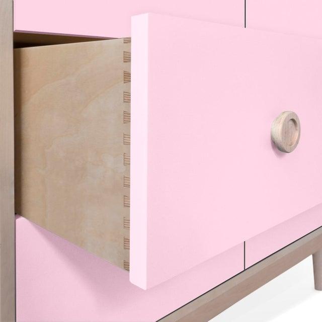 Modern Nico & Yeye Luke Modern Kids 6-Drawer Dresser Solid Maple and Maple Veneers Pink For Sale - Image 3 of 6