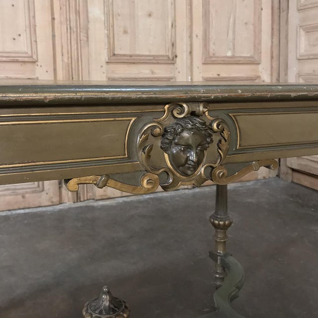 19th Century French Louis XVI Painted End ~ Library Table For Sale - Image 10 of 12