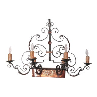 Early 20th Century Six-Light Iron Chandelier With Center Copper Jardiniere