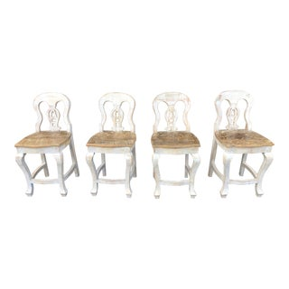 Boho Chic Weathered Pine Counter Top High Dining Chairs - Set of 4 For Sale