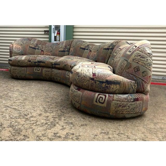 Art Deco 1990s Vintage Basset Curvy Sculptural Serpentine 3 Piece Sofa For Sale - Image 3 of 12