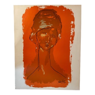 1960s Modigliani Portrait of Jeanne Hebuterne Screen Print For Sale
