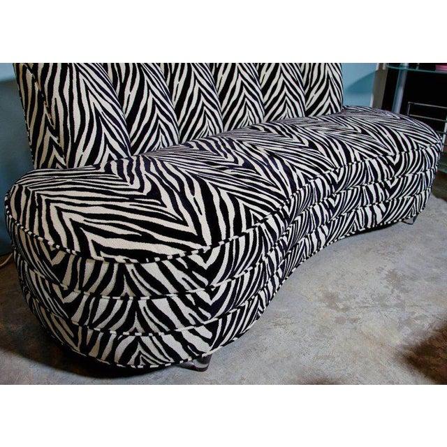 Custom Midcentury Kagan Style Zebra Pattern Sofa For Sale In Atlanta - Image 6 of 7