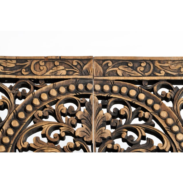 Brown Southeast Asian Carved Teak Flower Panel For Sale - Image 8 of 13