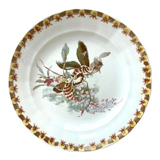 1890 French Plate With Orchid, Signed Hippolyte Boulenger Choisy Le Roi For Sale