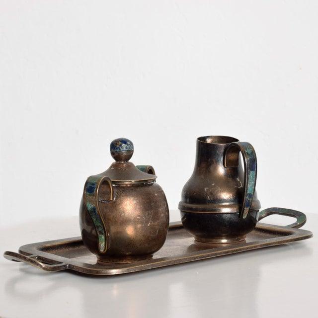 Metal Mexican Mid-Century Los Castillo Silverplate & Malachite Azurite Stone Coffee Tea Serving Set - 3 Pc. For Sale - Image 7 of 11
