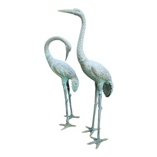 Patinated Garden Crane Statues- a Pair For Sale