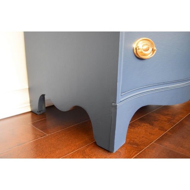 Bassett Serpentine Flat Navy-Blue and Gold Highboy Dresser - Image 8 of 11