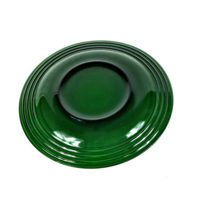 1950s 1950s Deep Green Glass Dinner Plate - a Pair For Sale - Image 5 of 7