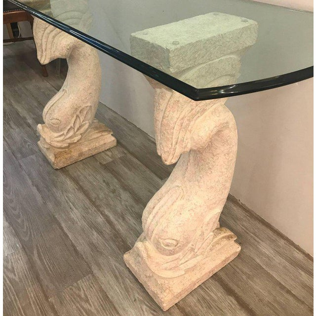 20th Century Hollywood Regency Cultured Stone and Glass Dolphin Motif Console Table For Sale - Image 4 of 10