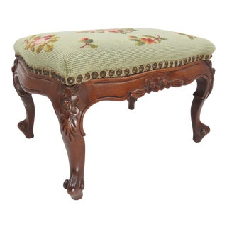 Antique Louis XV French Provincial Walnut Footstool For Sale