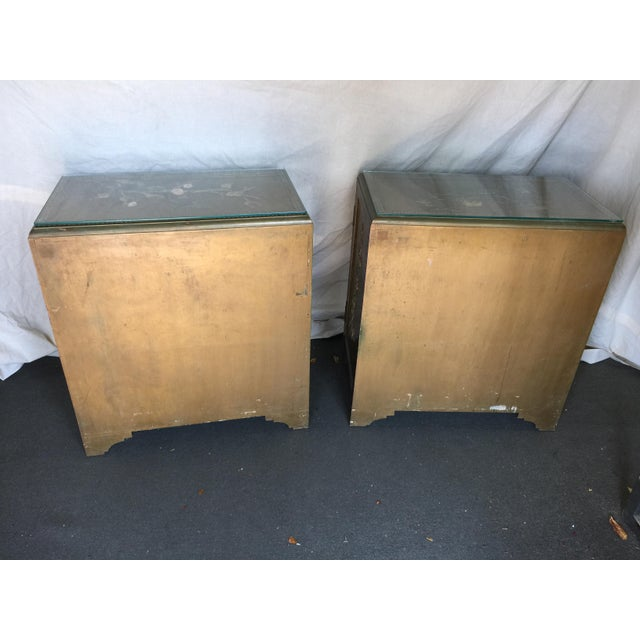 Pair Hollywood Regency Chinese Chinoiserie Chests With Hardstone Decoration For Sale - Image 10 of 11