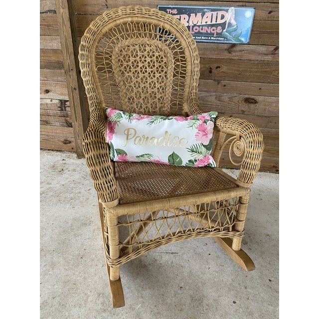 1980s 1980's Vintage Fiddlehead Wicker Rocking Chair For Sale - Image 5 of 12