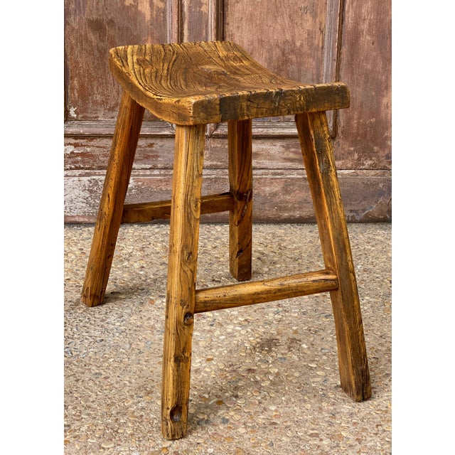 Early 20th Century English Saddle Seat or Farm Stool of Elm For Sale - Image 5 of 13