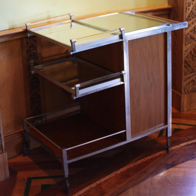 Dry Bar Service Cart by Jacques Adnet For Sale - Image 10 of 10